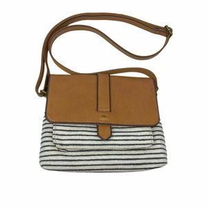 Fossil Kinley Sm Crossbody Bag Tan Leather Stripe